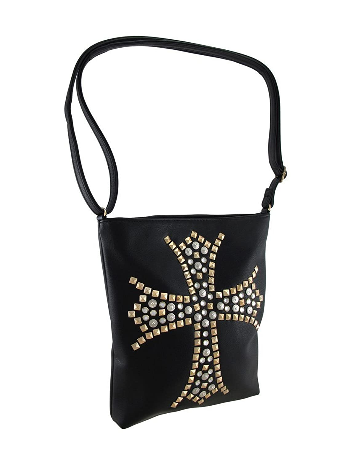 Cross Body Purse w/Studded Cross Accent and Adjustable Strap