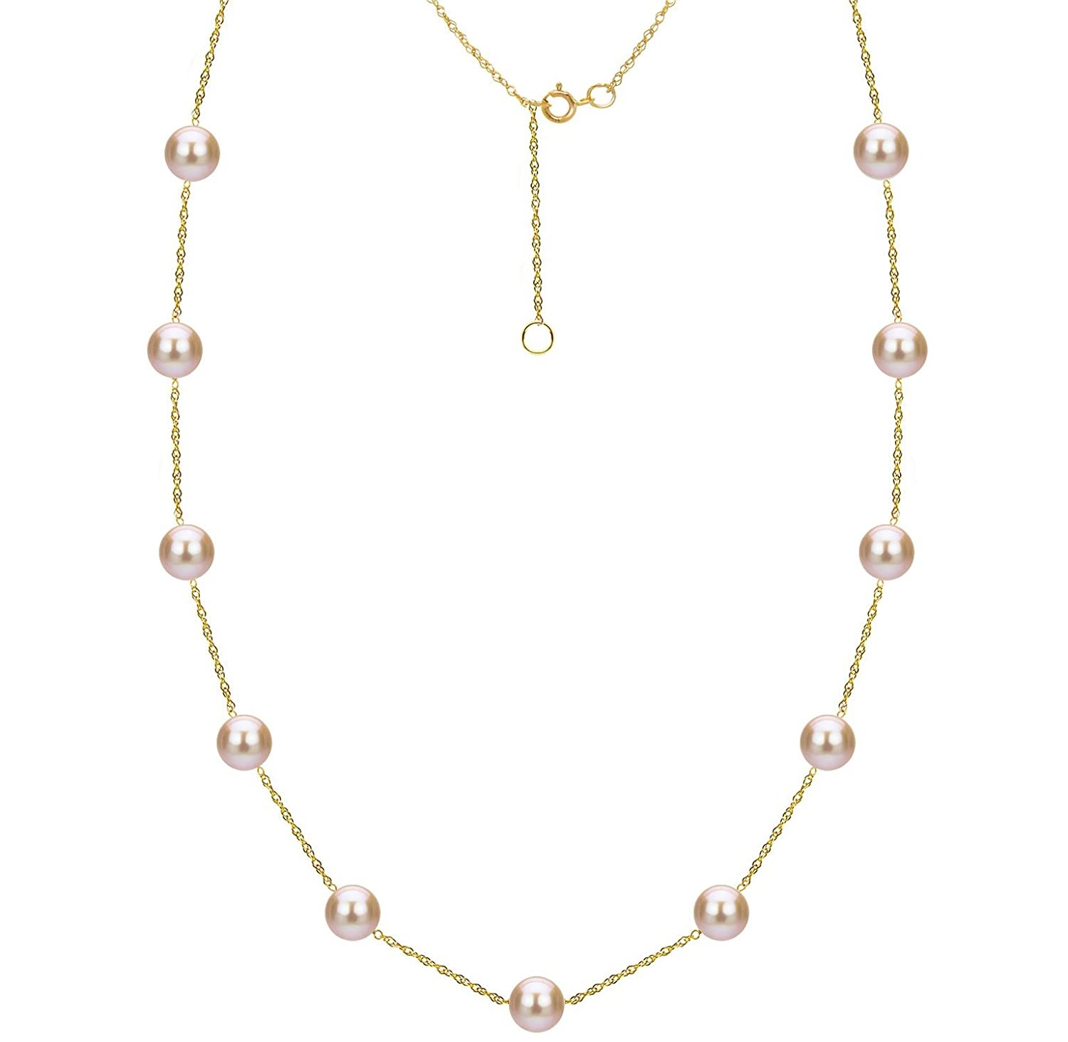 21f4f4a9e7507 Tin Cup Station Cultured Freshwater Pink Pearl Necklace 14K Gold Jewelry  for Women 18 inch 8-8.5mm