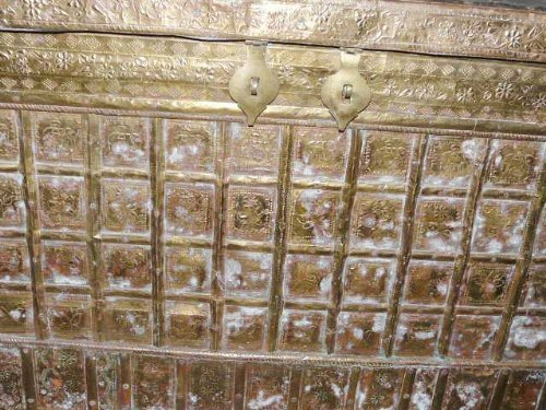 18c Antique Hope Chest on Wheels Brass Cladded Trunk Buffets India Pitara