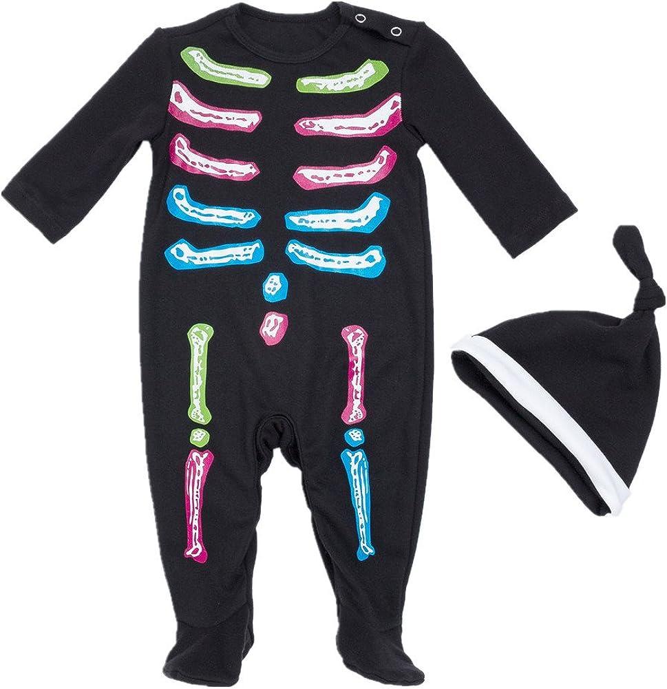 Bom Bom Baby M/ädchen Jungen Halloween K/ürbis Footies Schlafstrampler Nitnightsuit