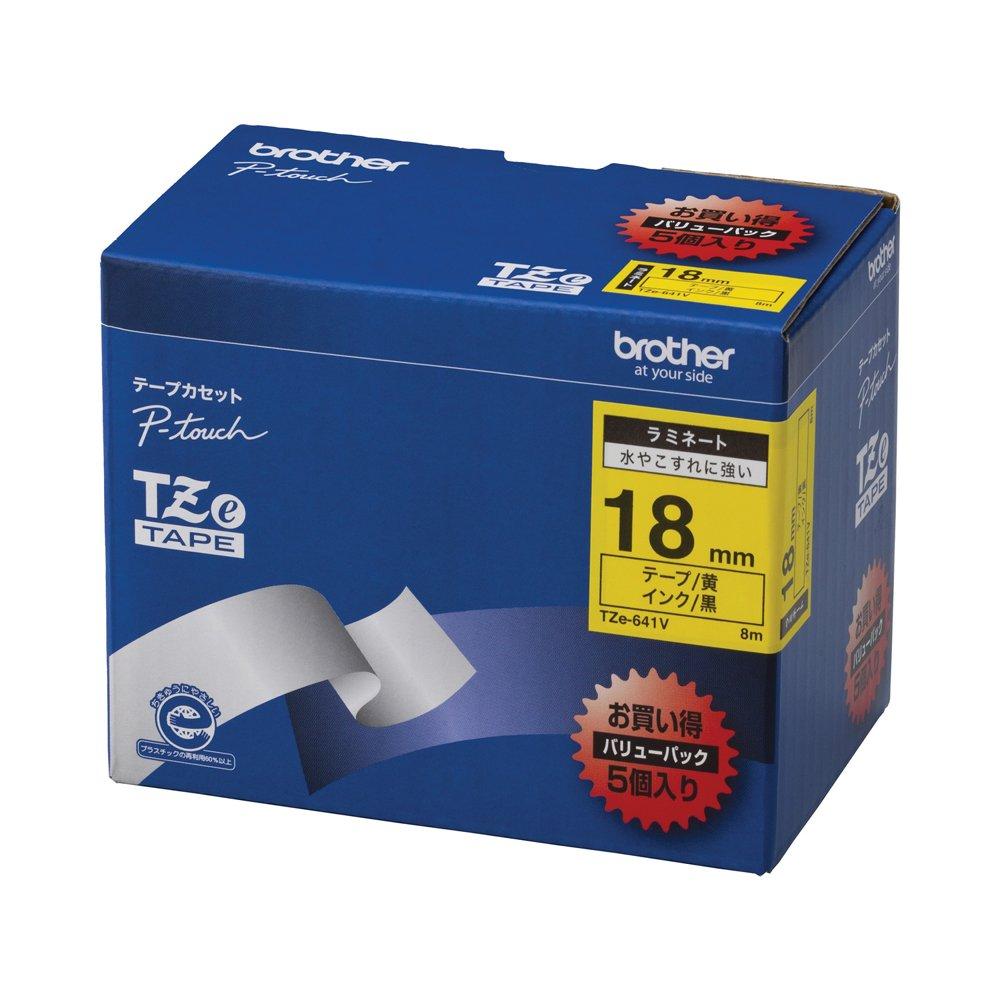 Brother TZe tape laminate tape (yellow ground / black) 18mm 5 pack of TZe-641V (japan import)