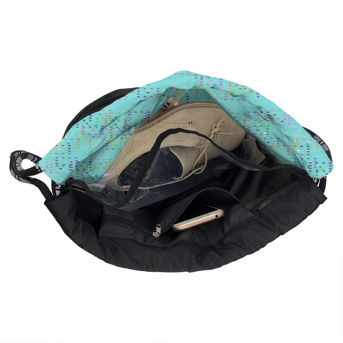 Graded Grains Aqua Drawstring Backpack Sports Athletic Gym Cinch Sack String Storage Bags for Hiking Travel Beach