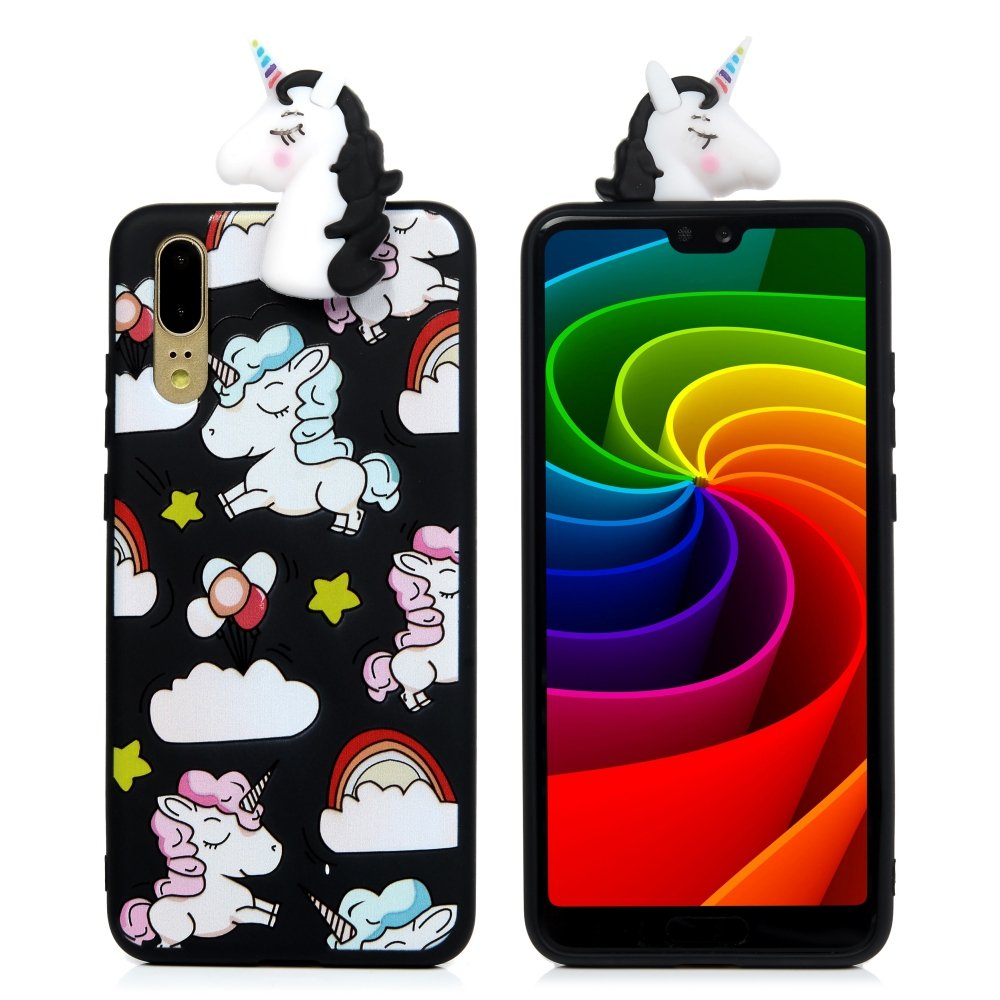 Carcasa de silicona Tophung para Huawei P20, diseño 3D a prueba de golpes, brillante, fina, suave, de silicona, flexible, TPU, transparente, antiarañazos, protección trasera , Black Panda
