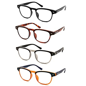 4ffc9c0093f Image Unavailable. Image not available for. Color  Reading Glasses 4 Pack  Spring Hinge Clubmaster Readers Men and Women ...