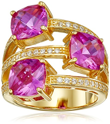 Charles Winston Sterling Silver Syn Pink Sapphire/Cubic Zirconia 3-Row Ring, Size 8