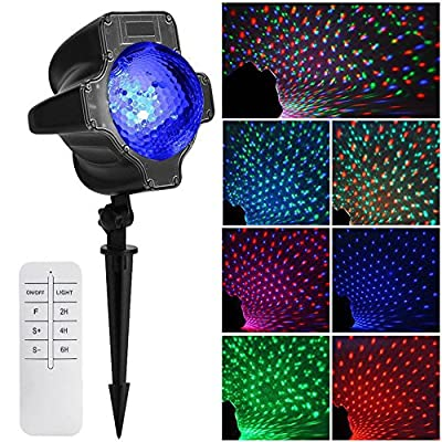 ELEOPTION Led Christmas Light Outdoor Indoor Projector light With RGB Star Moving Stars 7 Lighting Pattern Dynamic Lighting And Remote Controler for Stage Light Decoration New Year Decorations