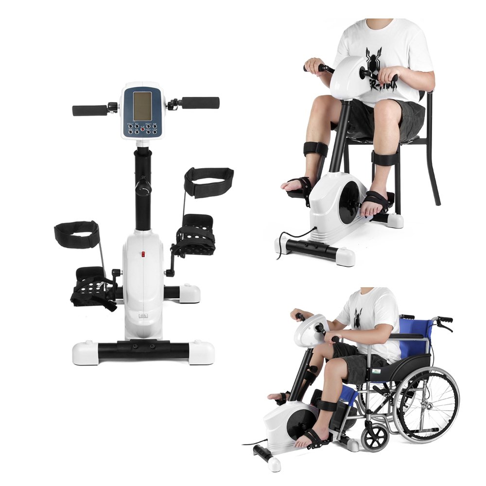 Seniors Pedal Exerciser Motorized Foot Splints Disabled Rehab Bike Cycle Electronic Physical Therapy Health Leg Rehabilitation Training Fit Handicap Stroke Survivor (White)