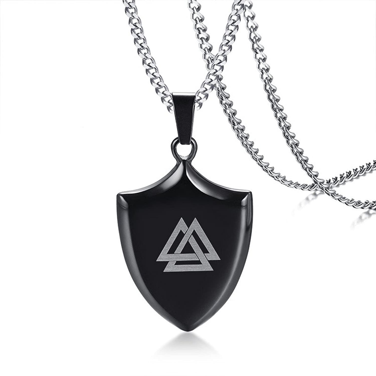 Men/'s Triangle Pendant Stainless Steel Necklace Chain
