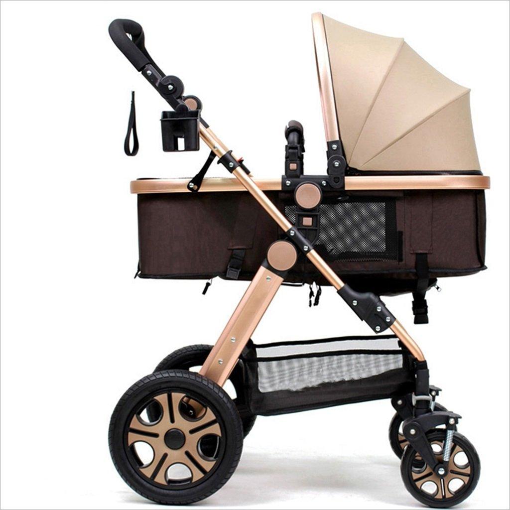 新生児の赤ちゃんキャリッジ折りたたみ可能な座って、1ヶ月のためのダンピングの赤ちゃんカートに落ちることができます 3歳の赤ちゃんの双方向四輪ベビートロリーを振るのを避ける (色 : D) B07FGD267ZD