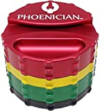 Phoenician Herbal Grinder - Large 4 Piece w/ Papers Holder - Rasta with 2 Rolling Paper Depot Doobtubes