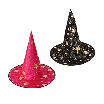 Baoblaze 2x Sombrero Tela Satinada Astros Dorado Brujas Disfraz Especial  Diseño Halloween Rosa Rojo Negro 4f9bf889d0c