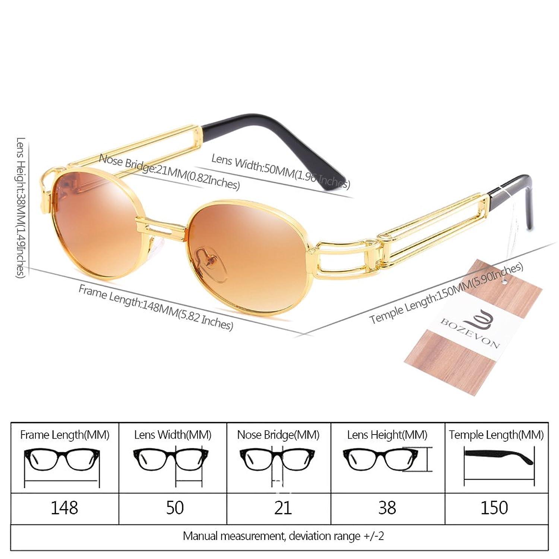 BOZEVON Retro UV400 Herren Doppelte Metall Rahmen Oval Sonnenbrille Schutzbrillen Gold-Braun 7Ajc762u