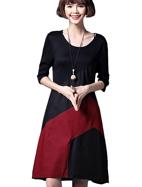 MatchLife Damen Kontrast Freizeitkleider Kurzarm Jerseykleider Rundhals Kleider