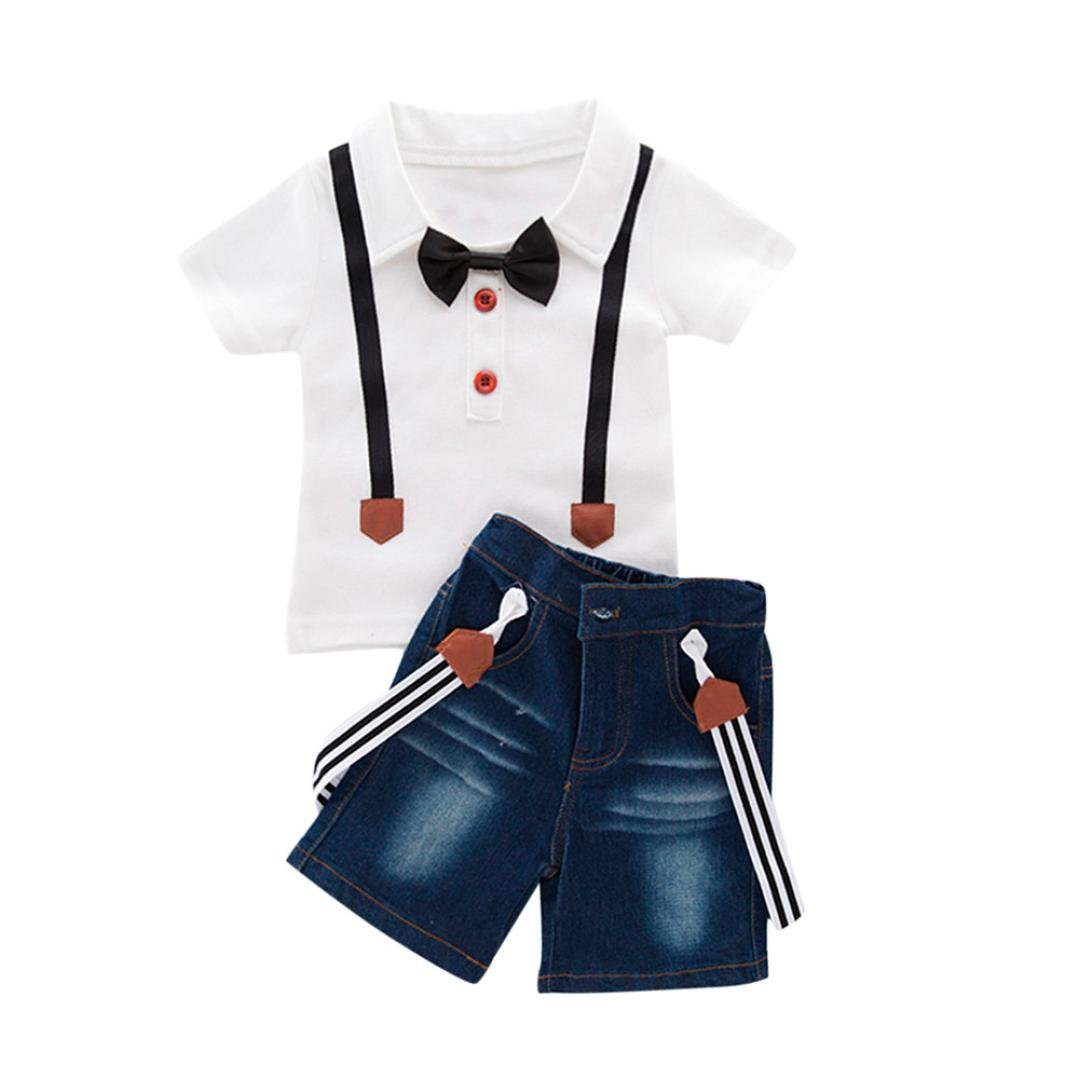 DIGOOD for 0-6 Years Old,Teen Toddler Baby Boys Bow Tie Plaid Shirt+Denim Shorts,Little Gentleman 2Pcs Outfits Clothes Sets