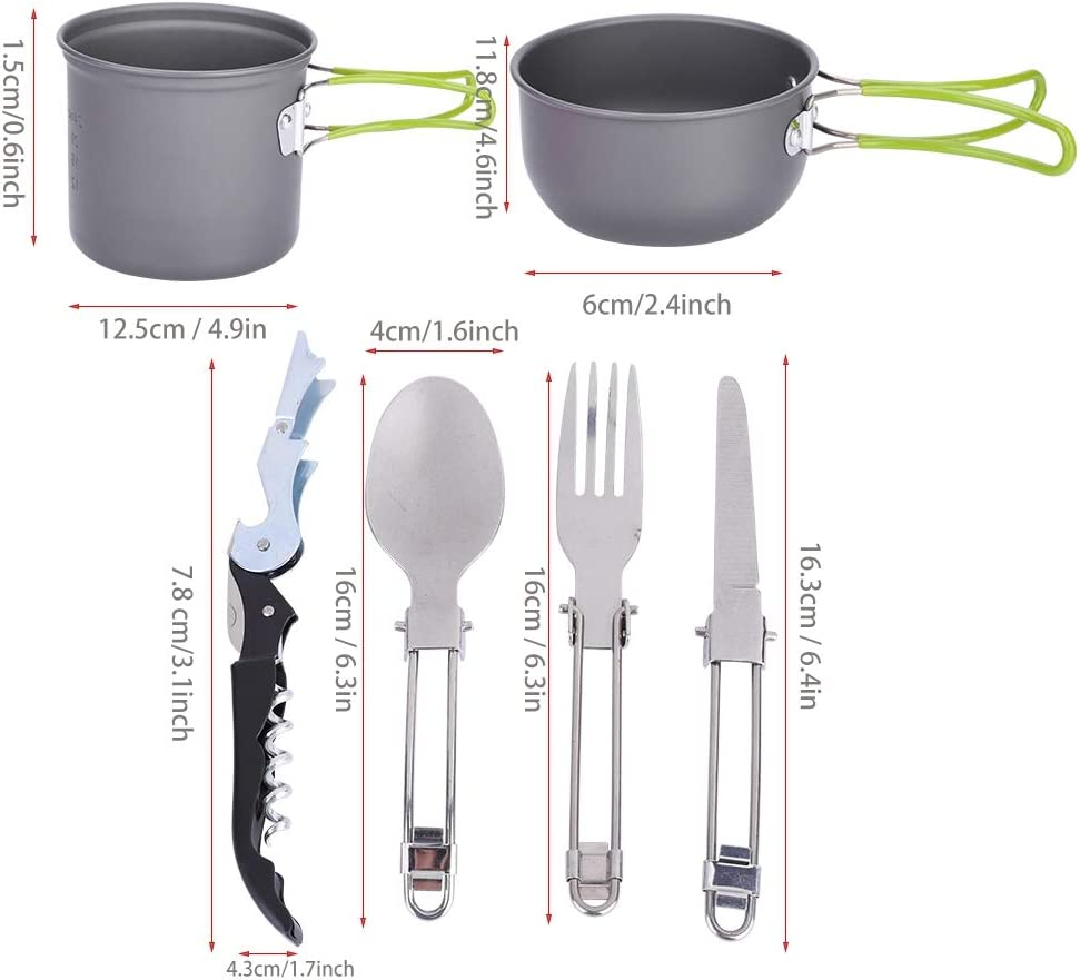 Qiterr Camping Cookware Set,Outdoor Cooking Tool Portable Cookware Set Camping Picnic Pot Tableware