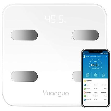 Báscula Baño Yuanguo Escala de Grasa Corporal Digital de la Escala de Peso para IOS y