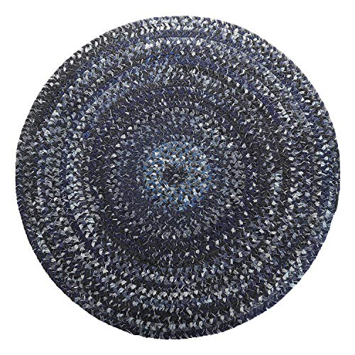 LOCHAS Natural Fiber Braided Multicolor Area Rug Hand Woven Reversible Round Solid T/C Carpet for Living Room Bedroom Rugs (3.2' x 3.2'), Indigo