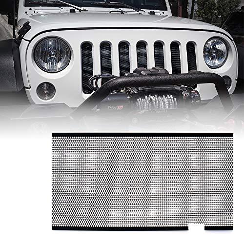 (Xprite Black Stainless Steel Mesh Insert For Jeep Wrangler JK JKU 2007-2018 Original Front Hood Matte Grill Grille Grid)