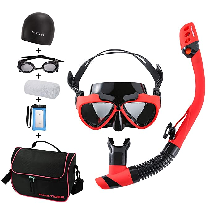 FinaTider Pro Dive Premium Snorkel Set - Impact-Resistant Tempered Glass Mask with Dry Snorkel and A Detachable Photography Mount for Easy Recording of Beautiful Pictures On The Ocean Floor best snorkel masks