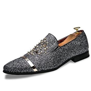 Jingkeke Zapatos de Negocios Casuales Estilo Oxford de Estilo británico Oxford Sparkling Rivet-on de Negocios Llamativo (Color : Silver, tamaño : 38 EU): ...