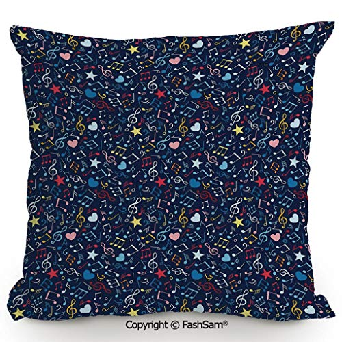FashSam Decorative Throw Pillow Cover Hearts Notes Stars Melodic Inspiration Musical Lifestyle Rhythm in My Heart Design Decorative for Pillow Cover for Living Room(14