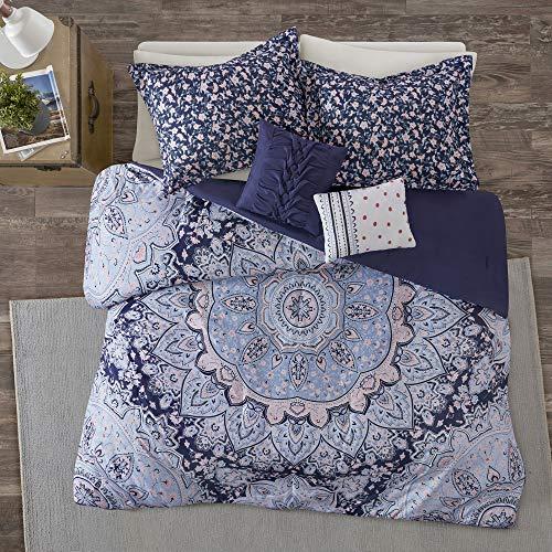 Intelligent Design Odette 5 Pieces Boho Printed Solid Microfiber Comforter Set Bedding, Full/Queen, Blue