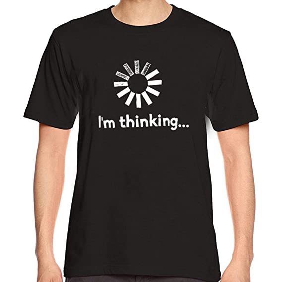 Im thinking Hombres que imprimen la blusa de la camiseta de manga corta de la camisa de las camisetas: Amazon.es: Ropa y accesorios