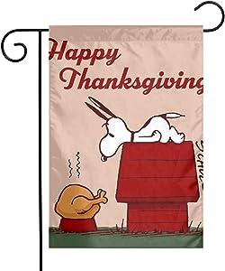 elecouble A Charlie Brown Thanksgiving Garden Flag Perfect Decor for Outdoor Yard Porch Patio Farmhouse Lawn, 12 X 18 Inch