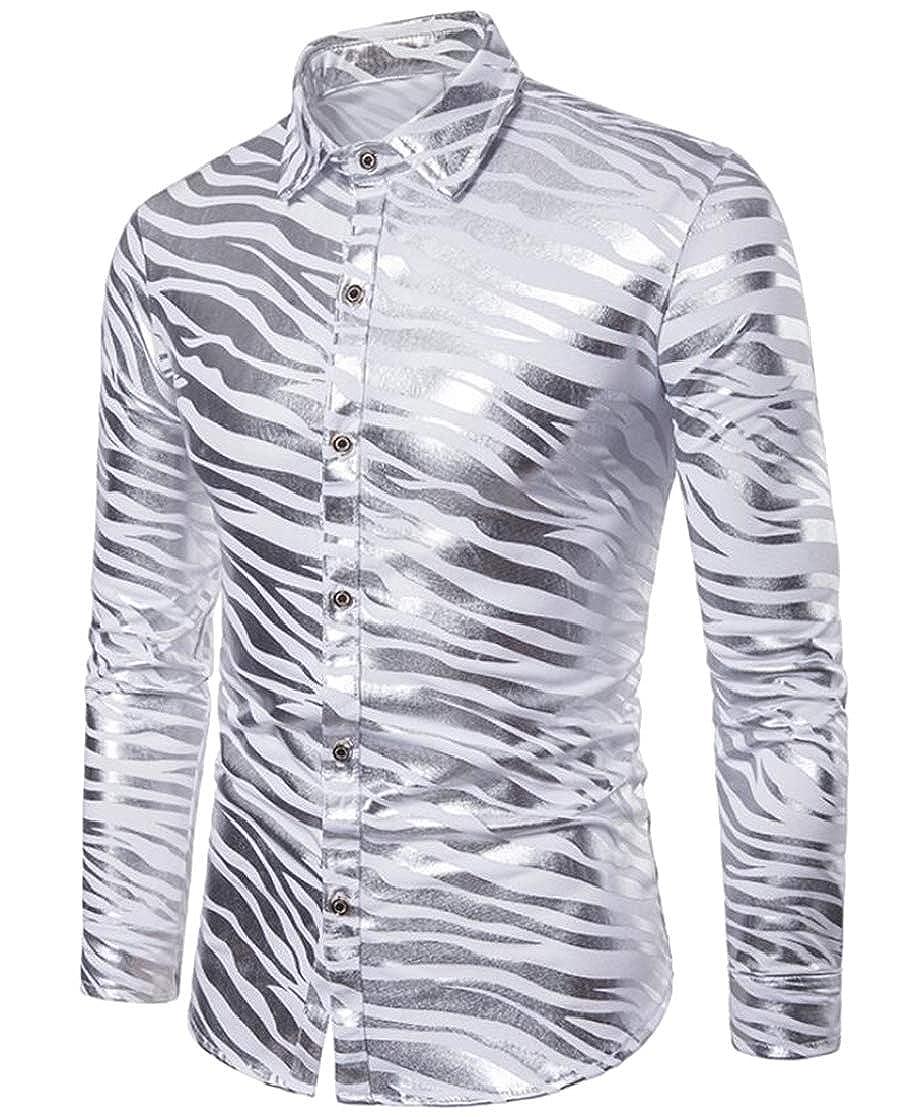 Domple Mens Business Buttons Zebra Print Long Sleeve Fashion Dress Shirts