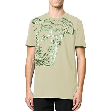 e8dd3973a Amazon.com: Versace Collection Medusa Print T-Shirt, Tan (Large ...