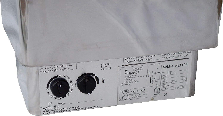 Po/êle pour sauna en acier inoxydable 9 kW avec commande int/égr/ée