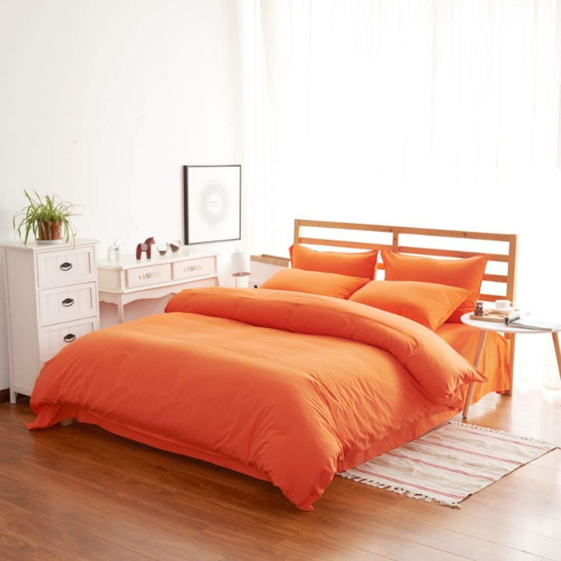 Longlong 4セット 寝具カバーセット 綿の高級高密度起毛シーツ枕カバーの家の室内装飾 掛け布団カバー ボックスシーツ 防ダニ ベッド用 洗える (色 : オレンジ, サイズ : 200*230CM) B07SSBTRX1