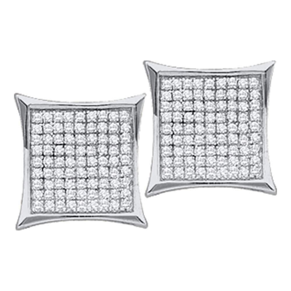 Or blanc 10carats pour femme Diamant rond carré Kite Cluster Boucles d'oreille à tige 1/10carat au total