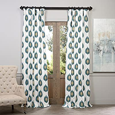 """Half Price Drapes PRTW-D02-96 Printed Cotton Curtain, Mayan Teal - Sold Per Panel 100% Cotton   Lined 3"""" Pole Pocket with Hook Belt & Back Tabs - living-room-soft-furnishings, living-room, draperies-curtains-shades - 61DF StoUuL. SS400  -"""