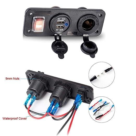 PENG 12V Car Boat Truck Cargador USB Dual con Interruptor de ...