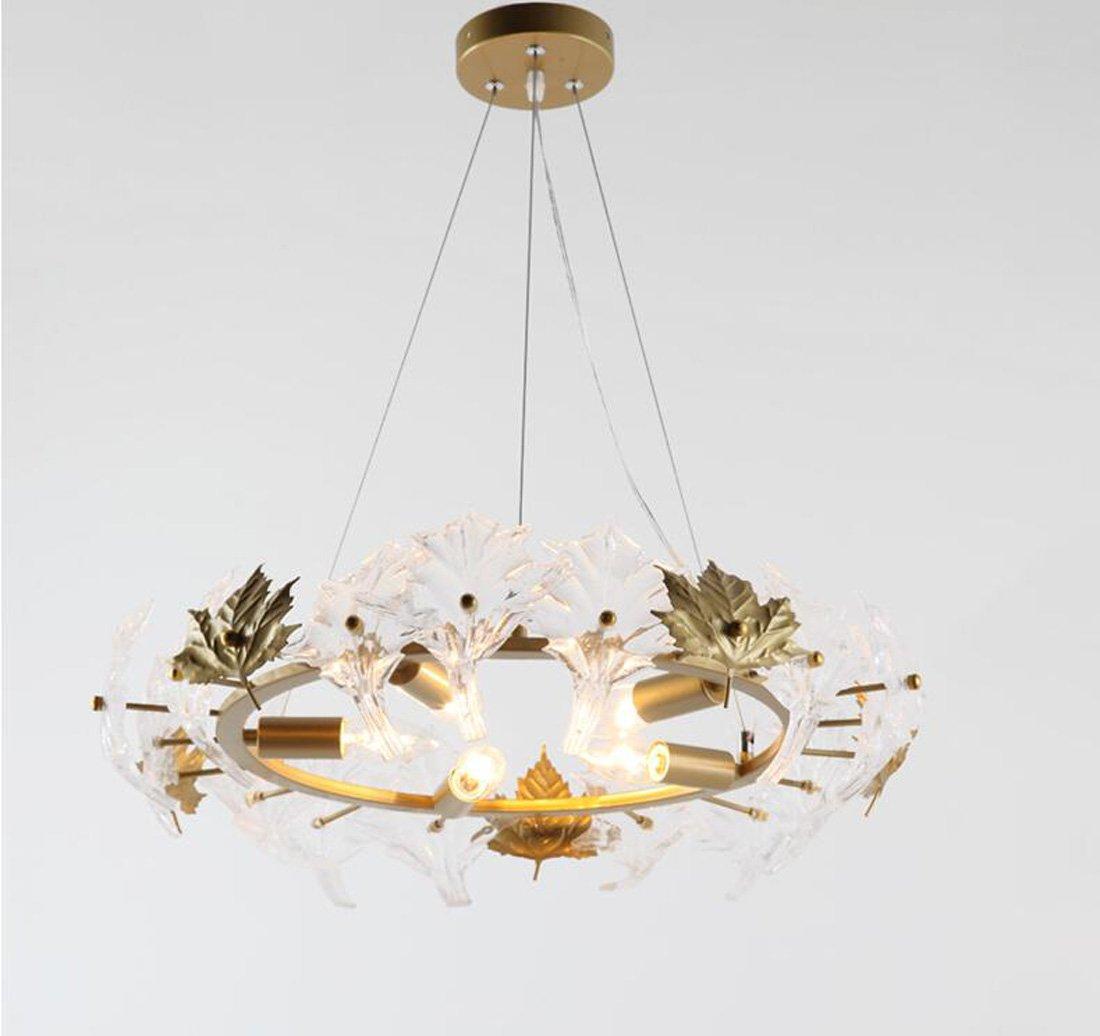 Ydxwan LED Kreative Ahornblatt Kristall Glas Kronleuchter Hängelampe Elegante Eisen Runde Kronleuchter Bar/Cafe/Wohnzimmer/Restaurant Innendekoration Licht (Ohne Birne)