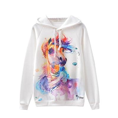 AIMEE7 Femmes à Manches Longues MulticoloreBeau Cheval en Molleton Imprimé à Capuche Hoodies Casual Blouse Printemps T-Shirt