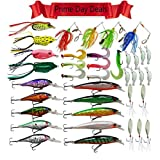 60PCS Fishing Lure Kits Minnow Trout Pike Bass Walleye Spinnerbait Hard Lure Hooks Jig Hook Soft Luminous Lures Mental Spoon Lure with Treble Hooks Saltwater Fishing