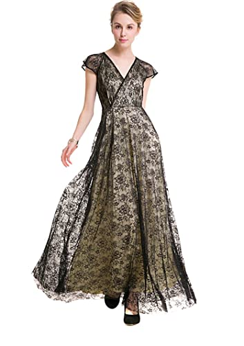 Selenaly Mother of the Bride Dresses-Women V Neck Cap Sleeve Lace Formal Long Evening Cocktail Dress