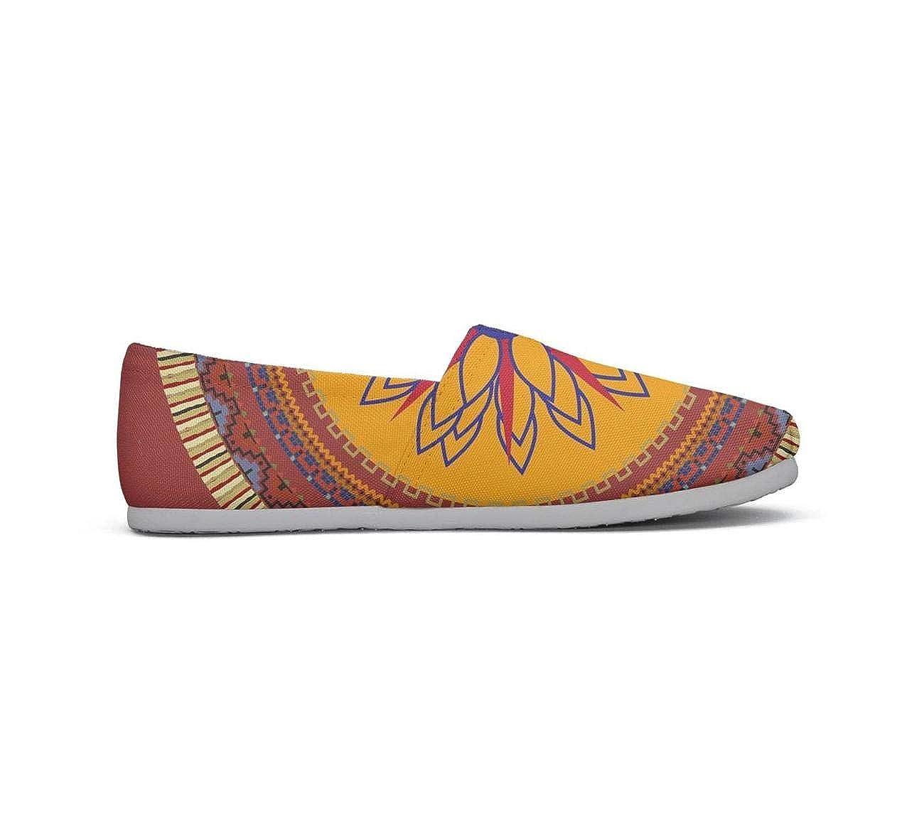 nkfbx red Mandala Boho Bohemian Casual Slip-On Canva Shoes for Girls Travel