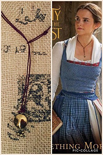 Beauty and the beast movie 2017 lariat choker Necklace Emma Watson as belle 2017 live movie handmade necklace Inspired by her look -Burgundy/red leather cord necklace