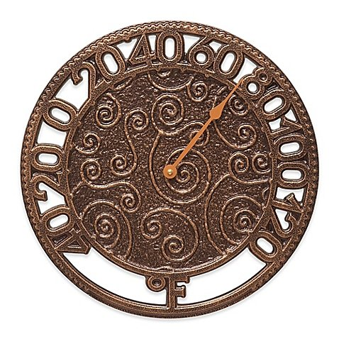Whitehall Products Flourish Indoor/Outdoor Wall Thermometer in Antique Copper by Whitehall