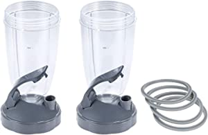 2Pcs 24oz Tall Cups Containers with Flip Top To Go Lid and 4Pcs Rubber Seal Ring Gaskets with Lip, Compatible with Nutribullet 600W 900W Blender Juicer