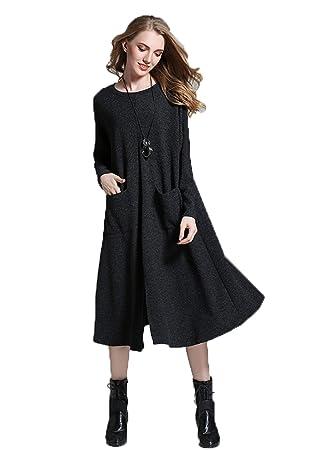 YALI Las Mujeres Embarazadas En Vestido Largo De Punto,negro,XXL