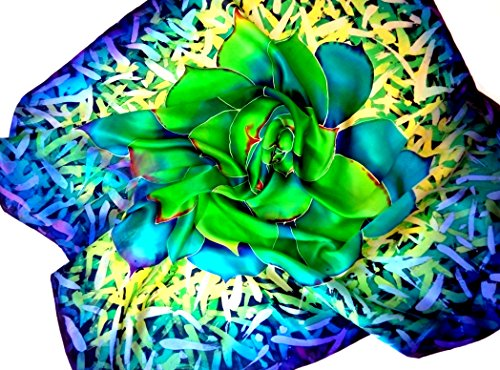 Large wraps shawl Succulent lovers gift Painted silk batik by Alla Taisheva