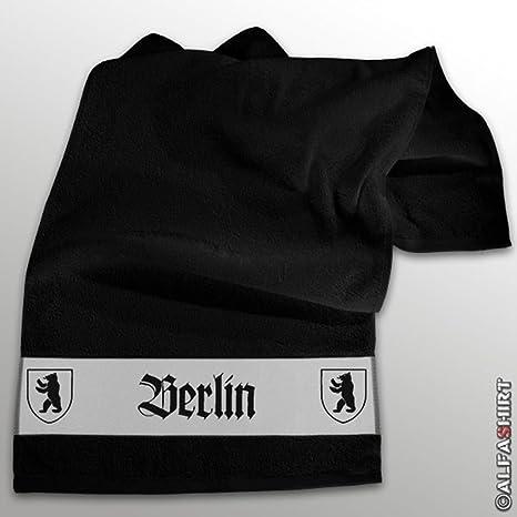 Berlin Principal Ciudad Alemania oso Escudo vacaciones Souvenir Recuerdo – Toalla de mano (Azul 100