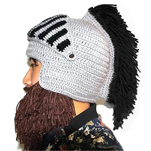 YEKEYI Wig Beard Hats Cosplay Roman Knight Knitted Helmet Winter Sports  Warmer Cap Ski Funny Mask Beanie at Amazon Men s Clothing store  51dd6e575262