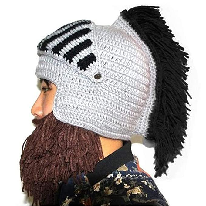 2487946fed5 Amazon.com  YEKEYI Wig Beard Hats Cosplay Roman Knight Knitted Helmet Winter  Sports Warmer Cap Ski Funny Mask Beanie  Clothing