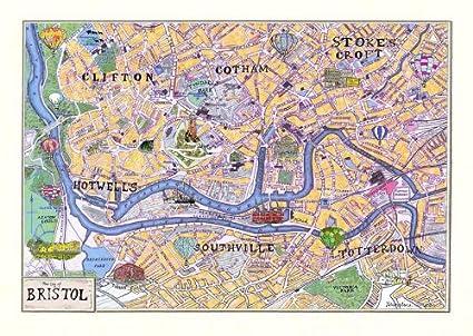 Map Of Bristol Uk.Bristol Map A3 Print Amazon Co Uk Kitchen Home