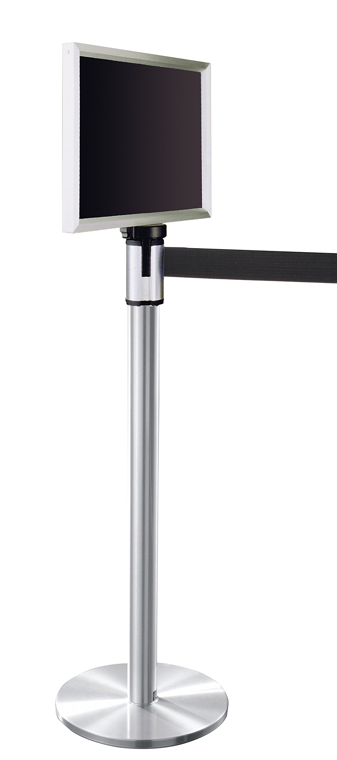 Glaro 152SA-BK-EXL1114SA 13' Retractable Belt Crowd Control Post - Satin Aluminum finish - Black Belt - Satin Aluminum Sign Frame Included